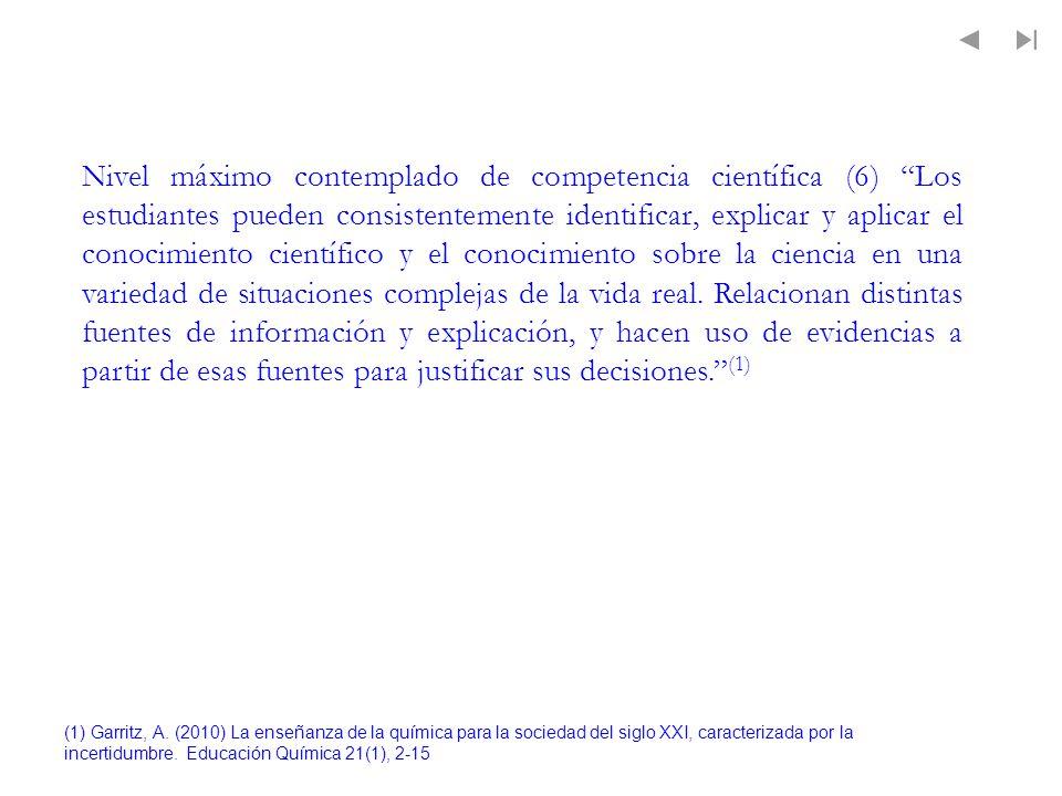 (1) Garritz, A. (2010) La enseñanza de la química para la sociedad del siglo XXI, caracterizada por la incertidumbre. Educación Química 21(1), 2-15 Ni