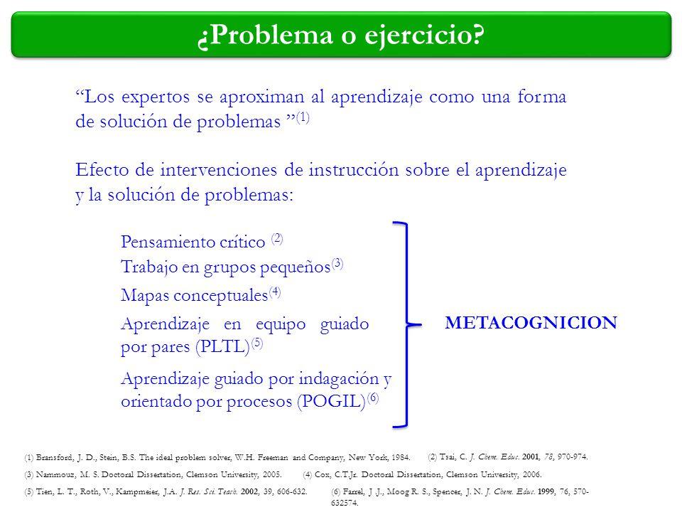 (1) Bransford, J. D., Stein, B.S. The ideal problem solver, W.H. Freeman and Company, New York, 1984. (2) Tsai, C. J. Chem. Educ. 2001, 78, 970-974. (