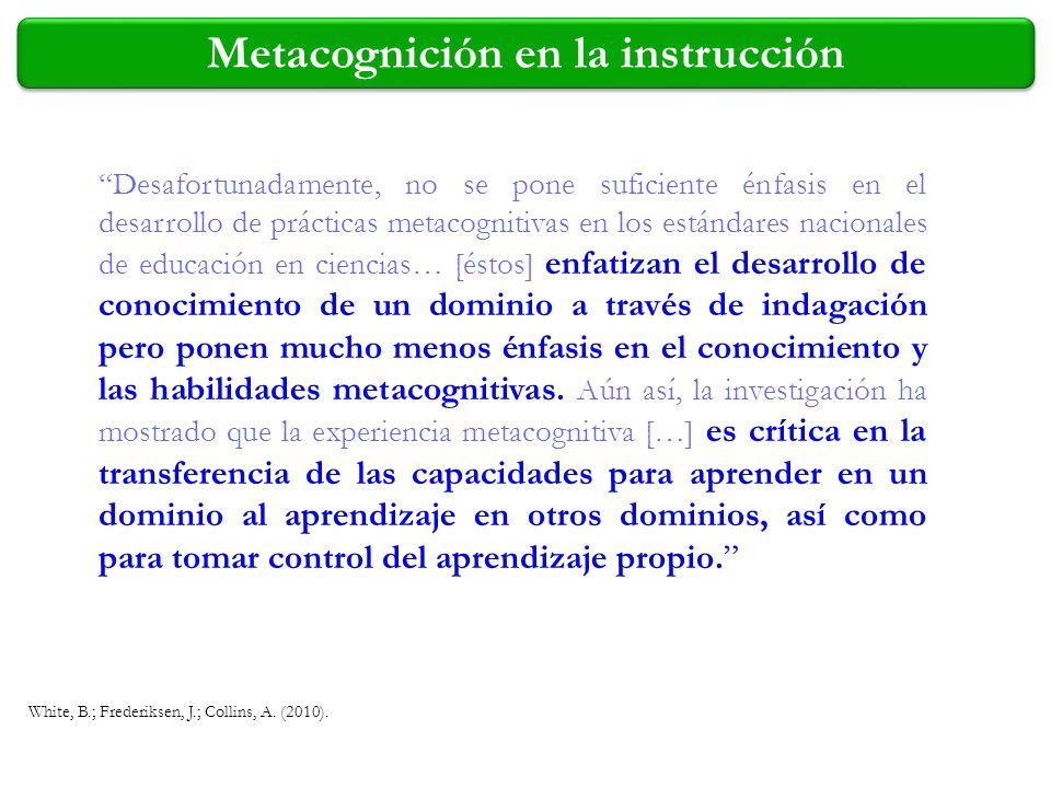 Metacognición en la instrucción Desafortunadamente, no se pone suficiente énfasis en el desarrollo de prácticas metacognitivas en los estándares nacio