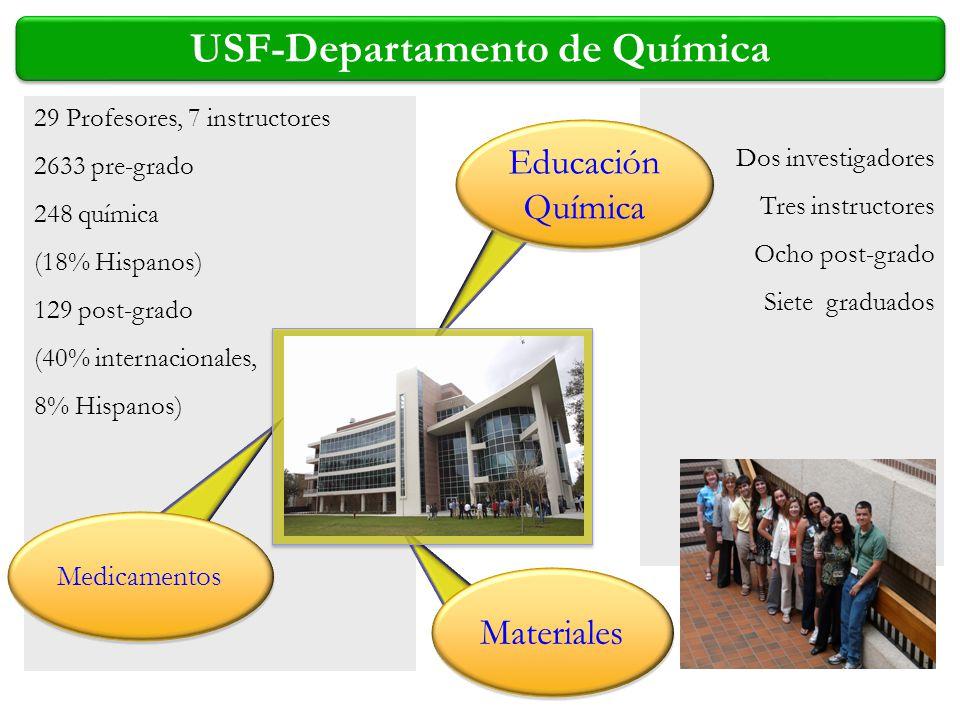 29 Profesores, 7 instructores 2633 pre-grado 248 química (18% Hispanos) 129 post-grado (40% internacionales, 8% Hispanos) Dos investigadores Tres inst