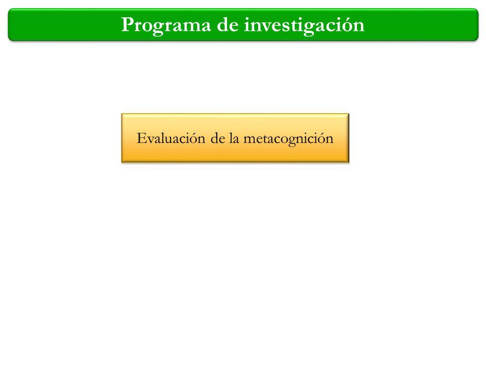 Programa de investigación Evaluación de la metacognición