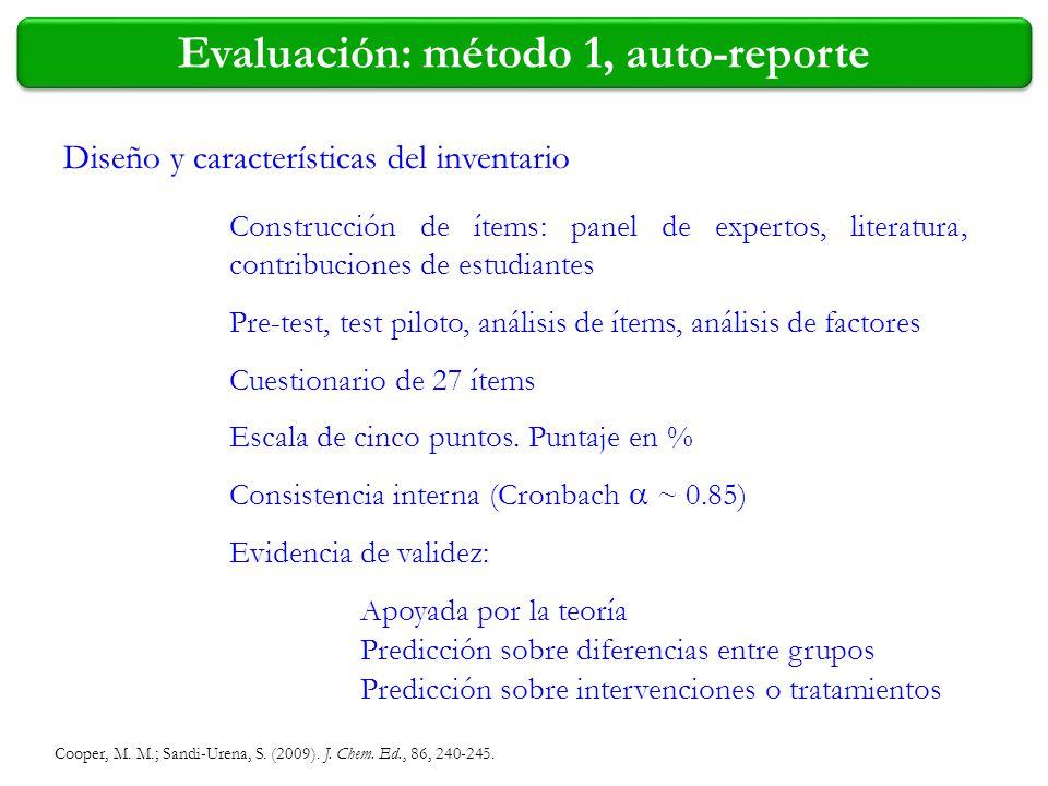 Evaluación: método 1, auto-reporte Diseño y características del inventario Construcción de ítems: panel de expertos, literatura, contribuciones de est