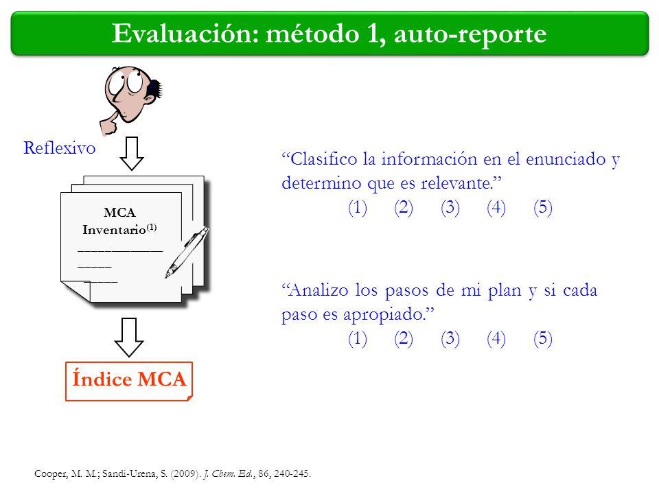 Evaluación: método 1, auto-reporte Reflexivo Clasifico la información en el enunciado y determino que es relevante. (1) (2) (3) (4) (5) Índice MCA MCA
