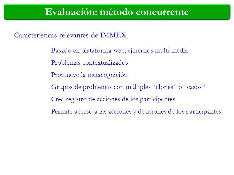 Evaluación: método concurrente Características relevantes de IMMEX Basado en plataforma web, ejercicios multi-media Problemas contextualizados Promuev