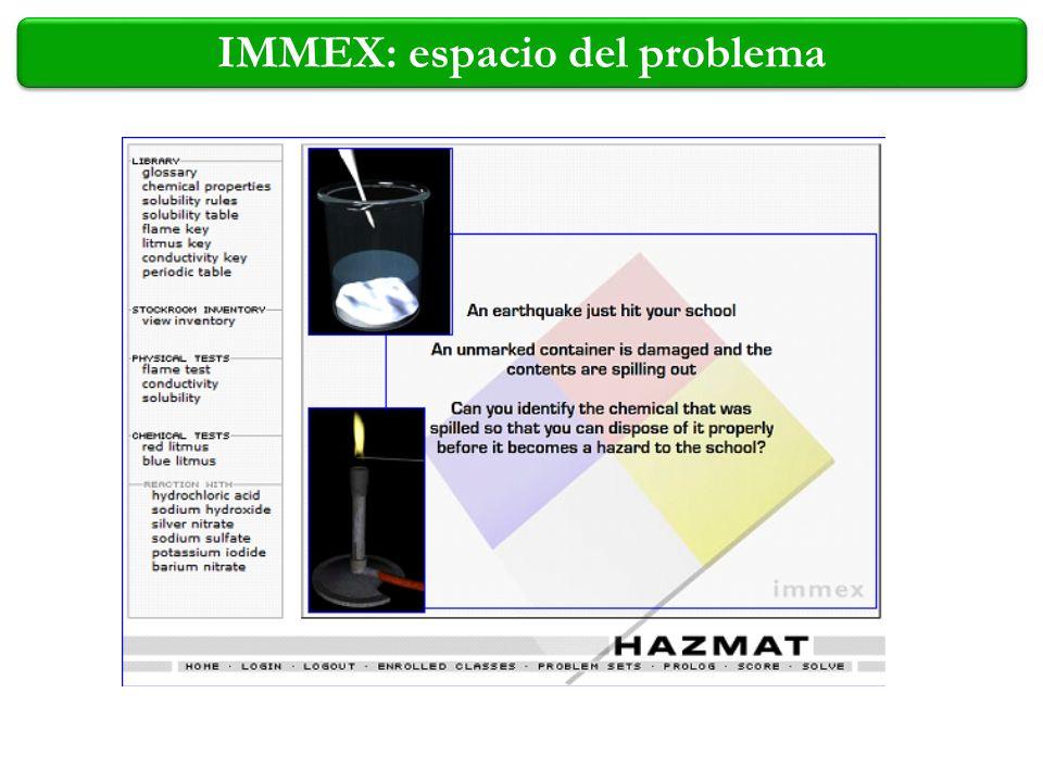 IMMEX: espacio del problema