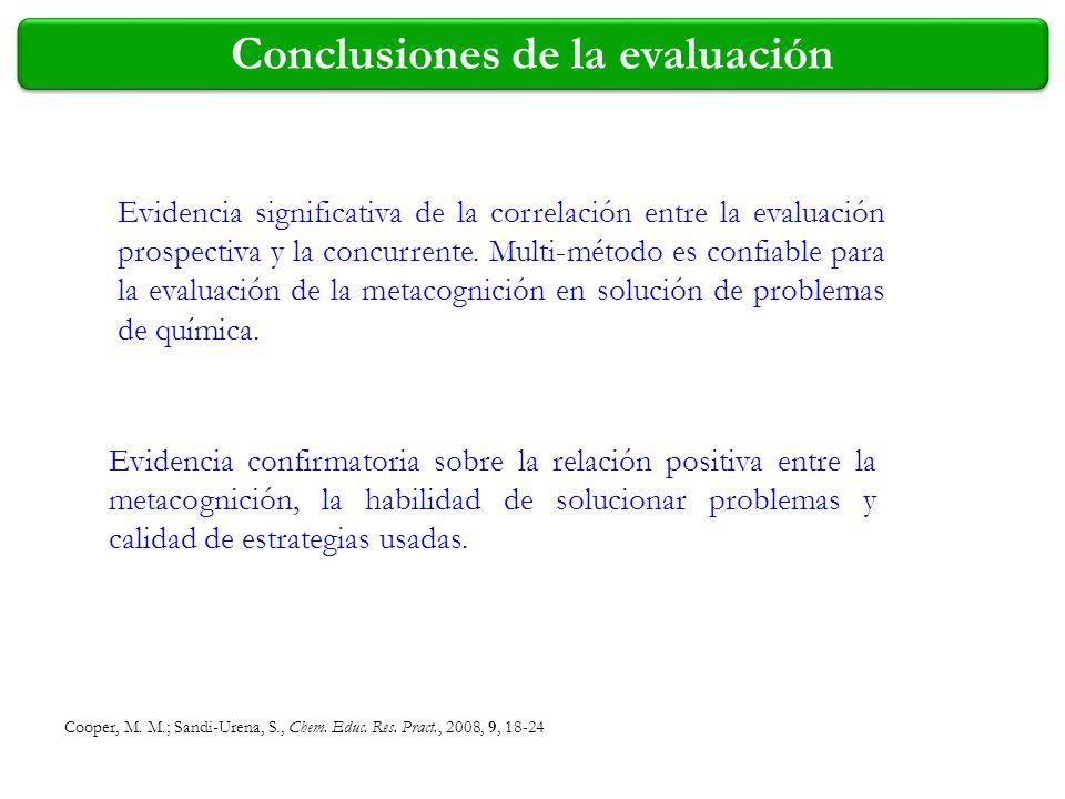 Cooper, M. M.; Sandi-Urena, S., Chem. Educ. Res. Pract., 2008, 9, 18-24 Conclusiones de la evaluación Evidencia significativa de la correlación entre