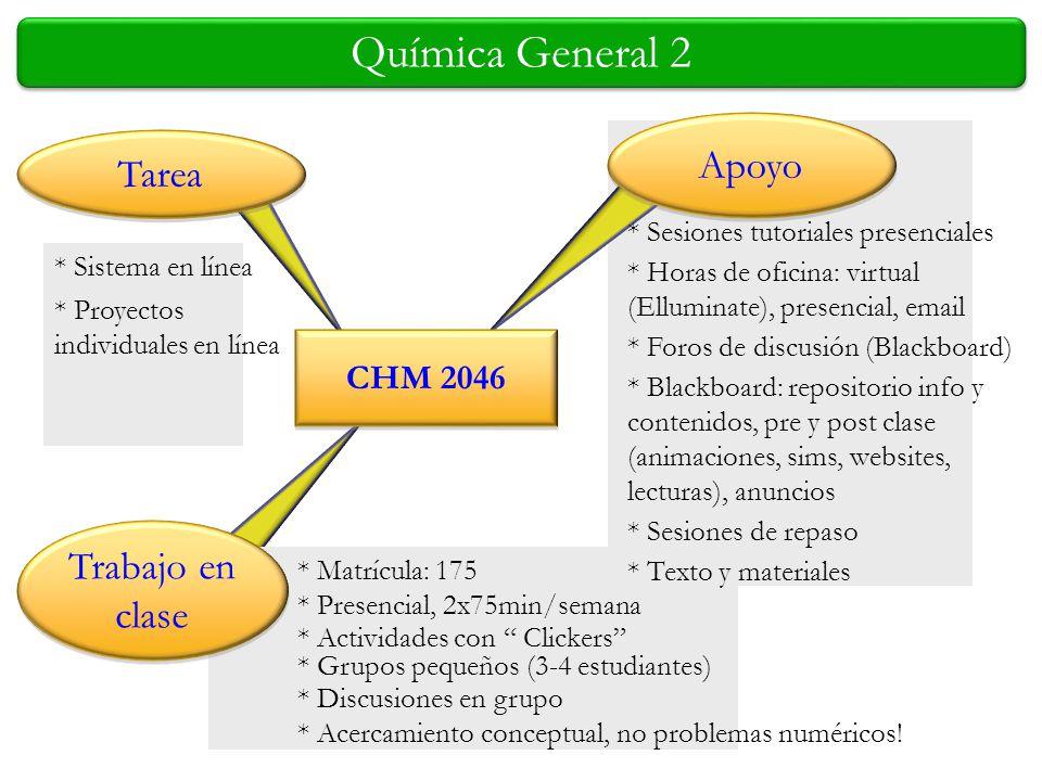 Química General 2 * Sistema en línea Trabajo en clase Tarea Apoyo CHM 2046 * Proyectos individuales en línea * Sesiones tutoriales presenciales * Hora
