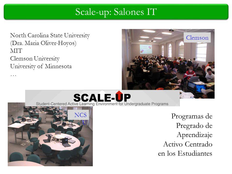 Scale-up: Salones IT Clemson North Carolina State University (Dra. Maria Oliver-Hoyos) MIT Clemson University University of Minnesota … Programas de P