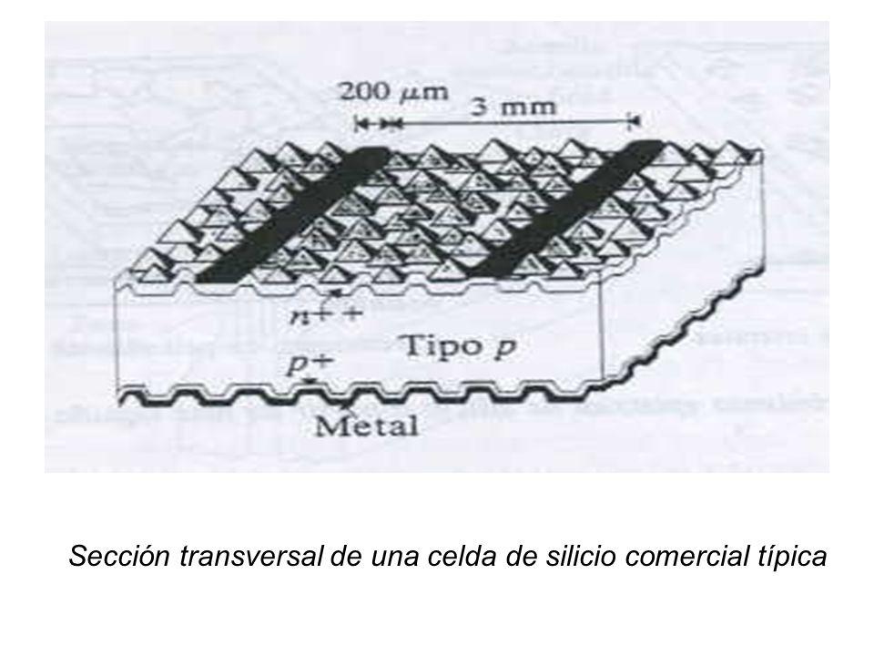 Sección transversal de una celda de silicio comercial típica
