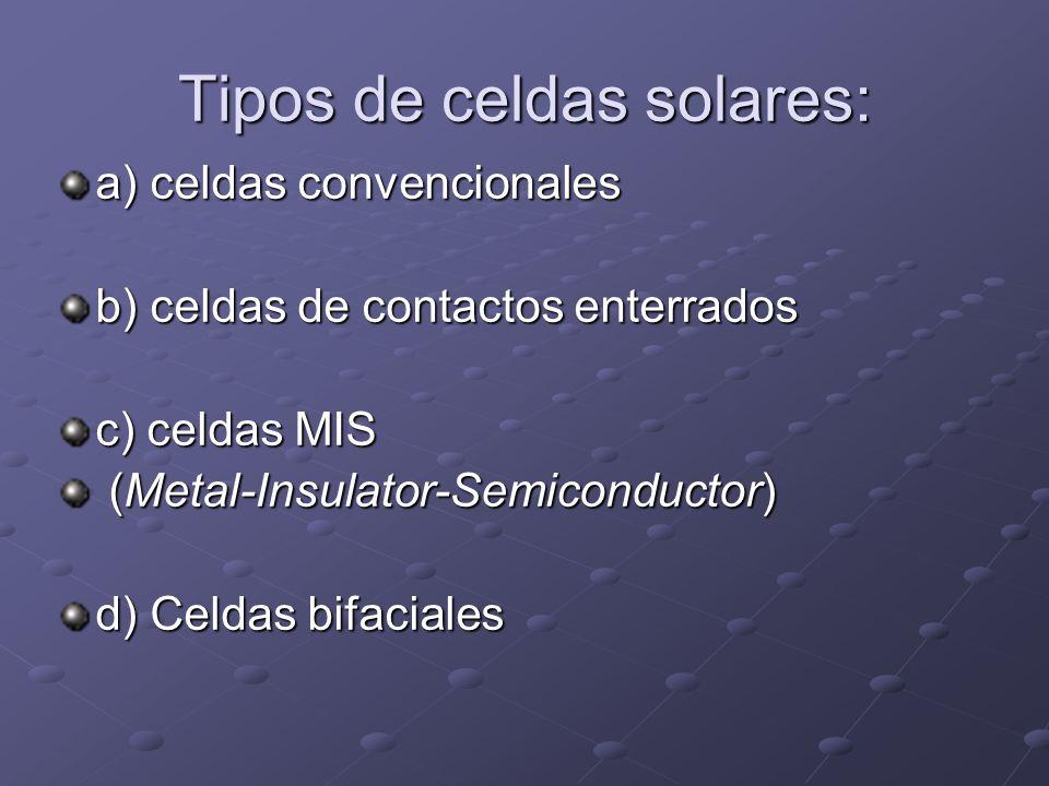 Tipos de celdas solares: a) celdas convencionales b) celdas de contactos enterrados c) celdas MIS (Metal-Insulator-Semiconductor) (Metal-Insulator-Sem