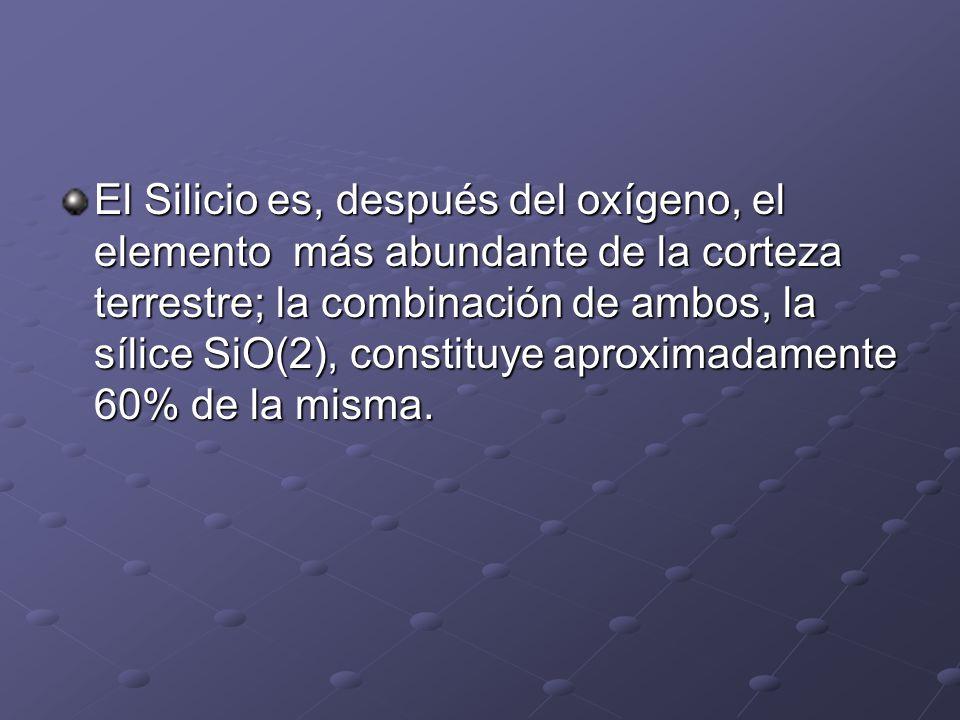 El Silicio es, después del oxígeno, el elemento más abundante de la corteza terrestre; la combinación de ambos, la sílice SiO(2), constituye aproximad
