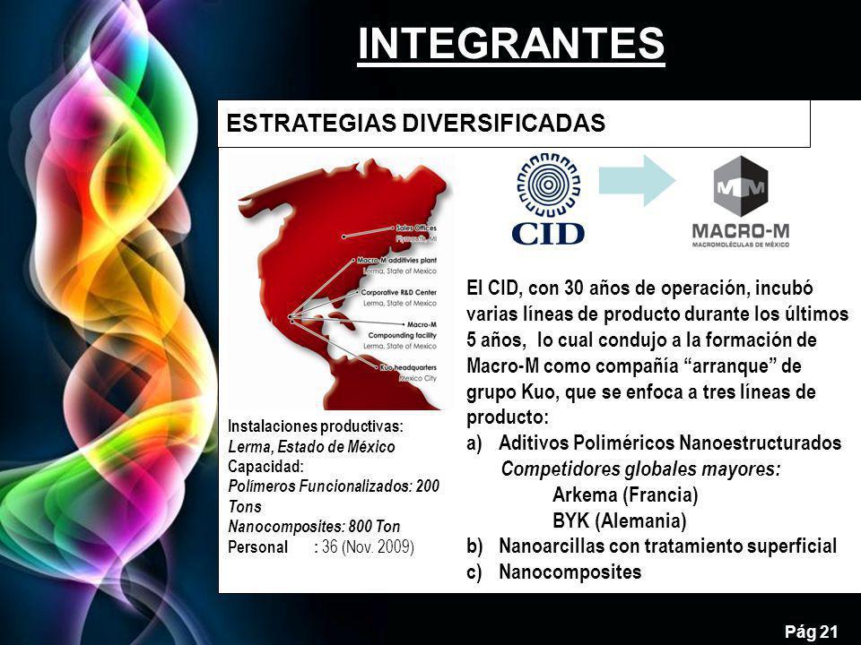Free Powerpoint Templates Pág 21 INTEGRANTES ESTRATEGIAS DIVERSIFICADAS 21 Instalaciones productivas: Lerma, Estado de México Capacidad: Polímeros Funcionalizados: 200 Tons Nanocomposites: 800 Ton Personal: 36 (Nov.