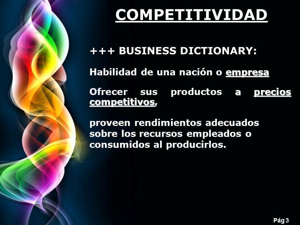 Free Powerpoint Templates Pág 3 +++ BUSINESS DICTIONARY: empresa Habilidad de una nación o empresa a precios competitivos Ofrecer sus productos a prec