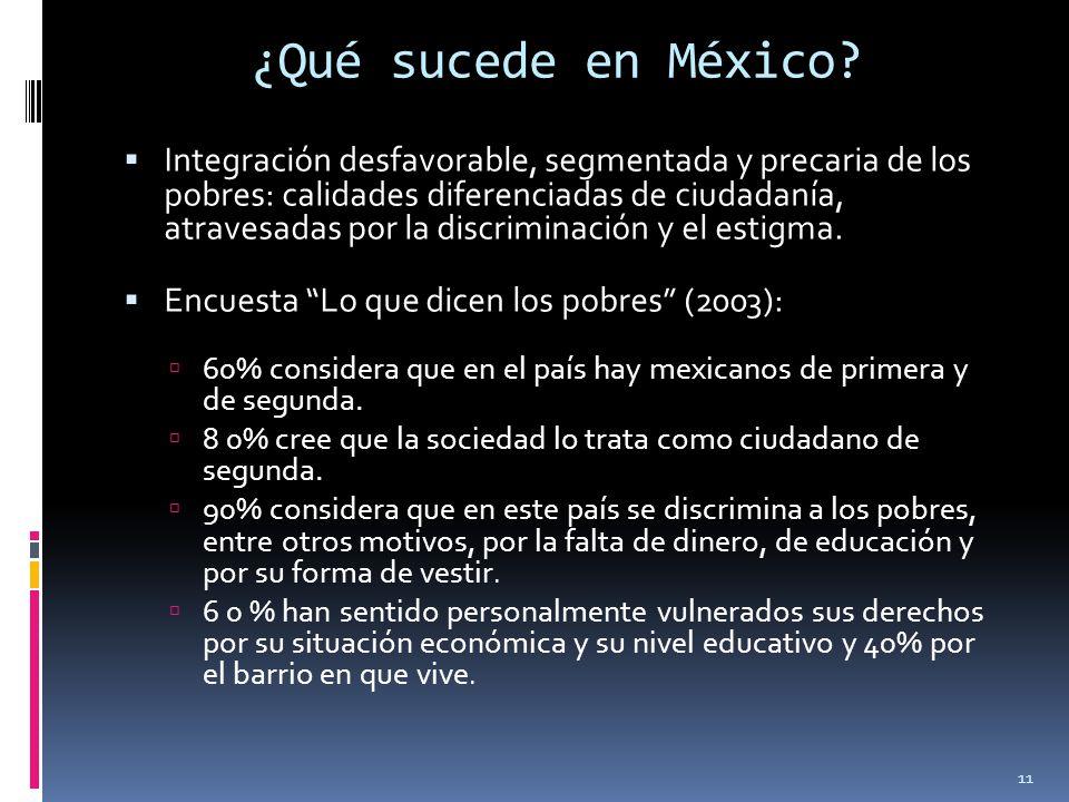 ¿Qué sucede en México? Integración desfavorable, segmentada y precaria de los pobres: calidades diferenciadas de ciudadanía, atravesadas por la discri