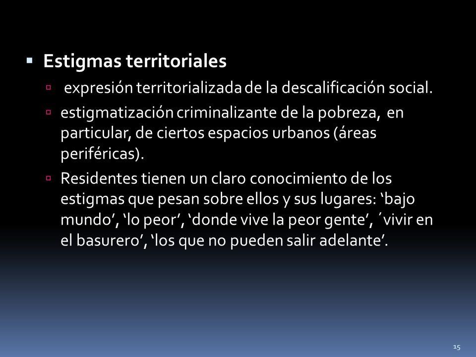Estigmas territoriales expresión territorializada de la descalificación social. estigmatización criminalizante de la pobreza, en particular, de cierto