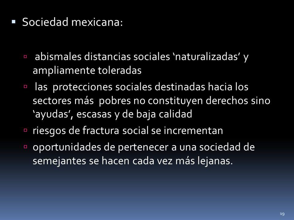 Sociedad mexicana: abismales distancias sociales naturalizadas y ampliamente toleradas las protecciones sociales destinadas hacia los sectores más pob