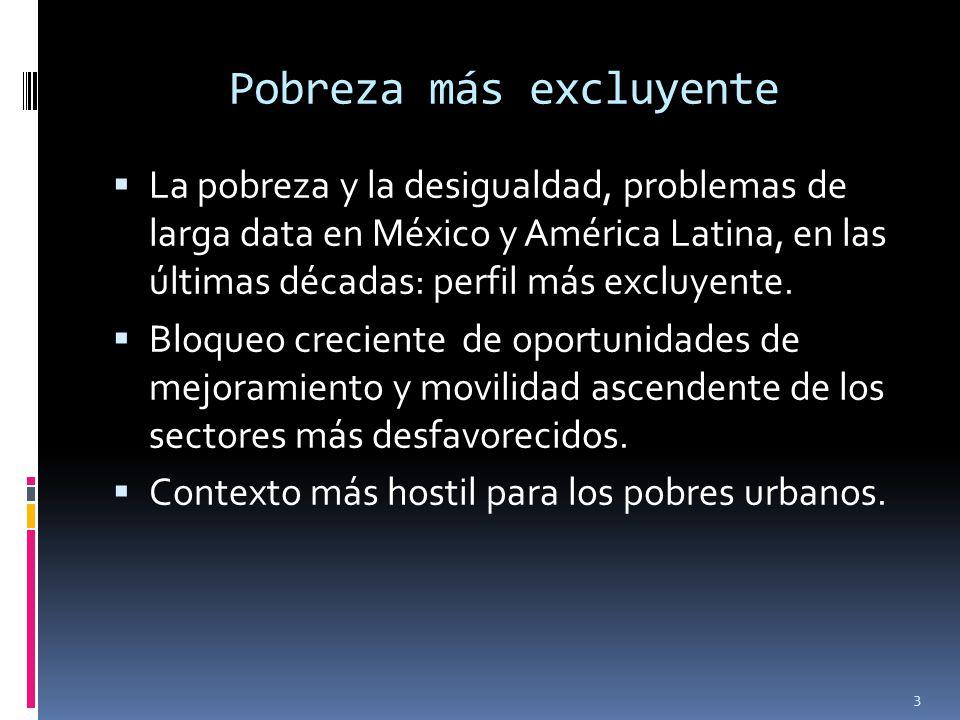 Pobreza más excluyente La pobreza y la desigualdad, problemas de larga data en México y América Latina, en las últimas décadas: perfil más excluyente.