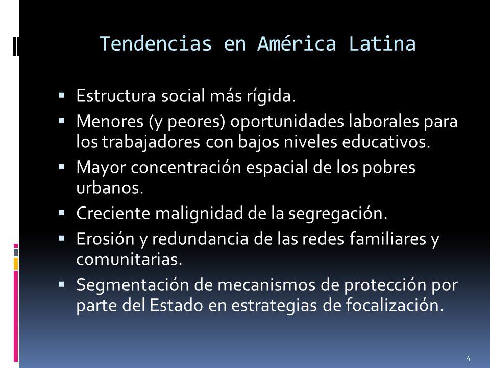 Tendencias en América Latina Estructura social más rígida. Menores (y peores) oportunidades laborales para los trabajadores con bajos niveles educativ