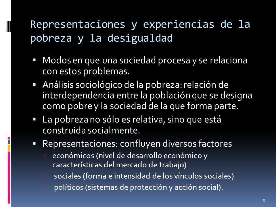 Representaciones y experiencias de la pobreza y la desigualdad Modos en que una sociedad procesa y se relaciona con estos problemas. Análisis sociológ