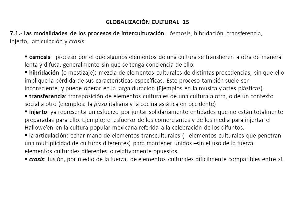 GLOBALIZACIÓN CULTURAL 15 7.1.- Las modalidades de los procesos de interculturación: ósmosis, hibridación, transferencia, injerto, articulación y cras