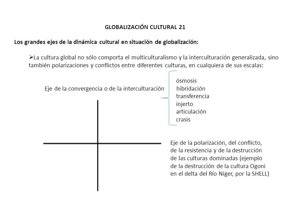 GLOBALIZACIÓN CULTURAL 21 Los grandes ejes de la dinámica cultural en situación de globalización: La cultura global no sólo comporta el multiculturali