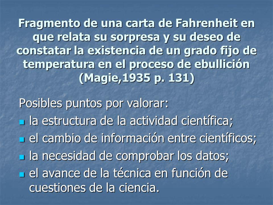 Fragmento de una carta de Fahrenheit en que relata su sorpresa y su deseo de constatar la existencia de un grado fijo de temperatura en el proceso de
