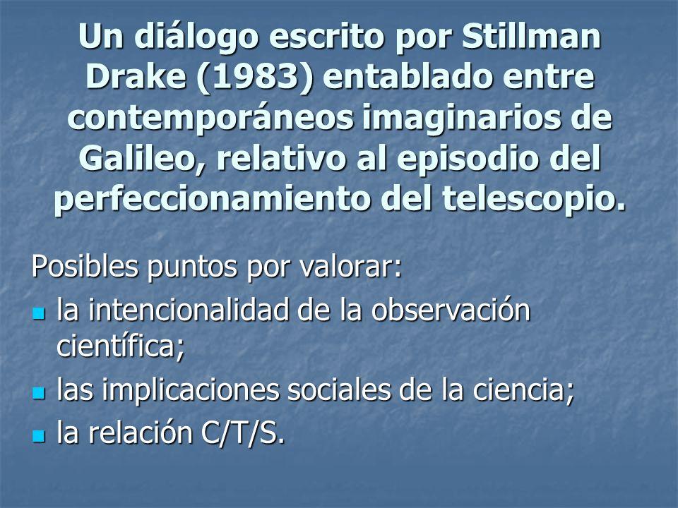 Un diálogo escrito por Stillman Drake (1983) entablado entre contemporáneos imaginarios de Galileo, relativo al episodio del perfeccionamiento del tel