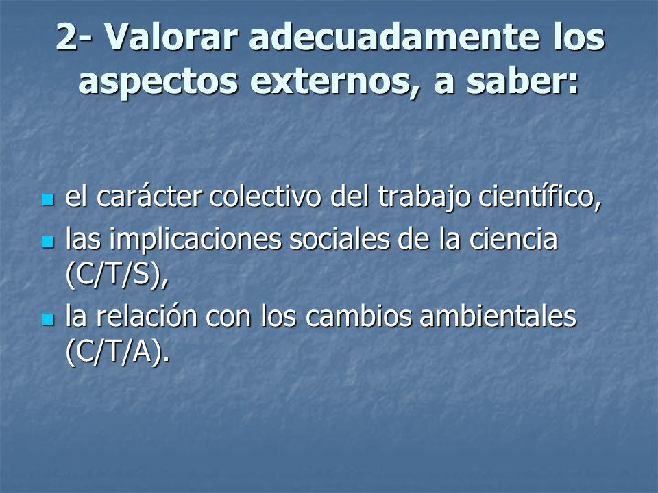 2- Valorar adecuadamente los aspectos externos, a saber: el carácter colectivo del trabajo científico, el carácter colectivo del trabajo científico, l