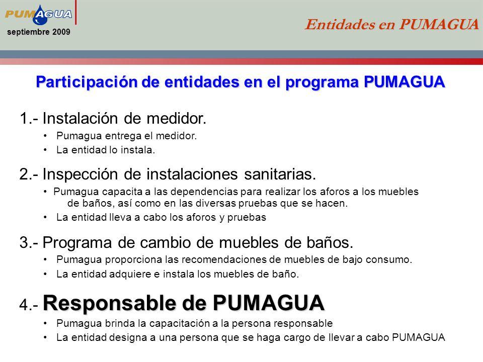 septiembre 2009 Entidades en PUMAGUA Participación de entidades en el programa PUMAGUA 1.- Instalación de medidor.