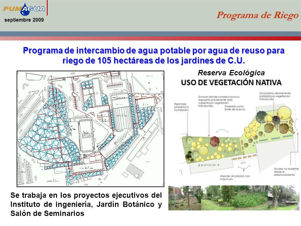 septiembre 2009 Programa de Riego Se trabaja en los proyectos ejecutivos del Instituto de ingeniería, Jardín Botánico y Salón de Seminarios Programa de intercambio de agua potable por agua de reuso para riego de 105 hectáreas de los jardines de C.U.