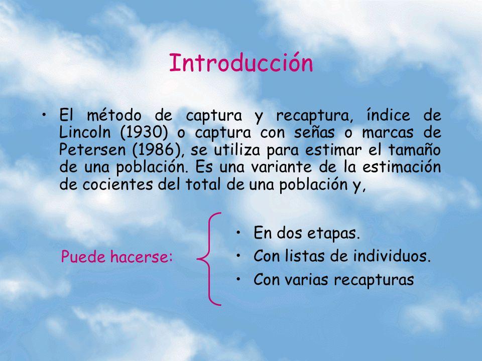 Introducción El método de captura y recaptura, índice de Lincoln (1930) o captura con señas o marcas de Petersen (1986), se utiliza para estimar el ta