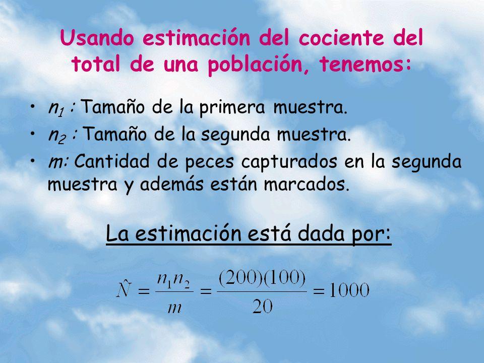 Usando estimación del cociente del total de una población, tenemos: n 1 : Tamaño de la primera muestra. n 2 : Tamaño de la segunda muestra. m: Cantida