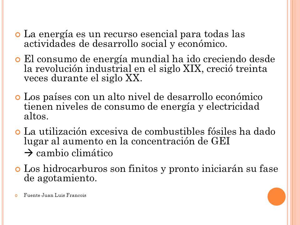 La energía es un recurso esencial para todas las actividades de desarrollo social y económico. El consumo de energía mundial ha ido creciendo desde la