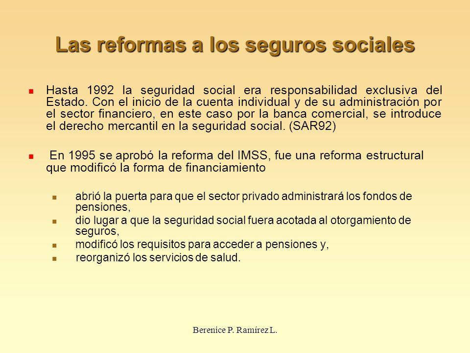 Las reformas a los seguros sociales Hasta 1992 la seguridad social era responsabilidad exclusiva del Estado. Con el inicio de la cuenta individual y d