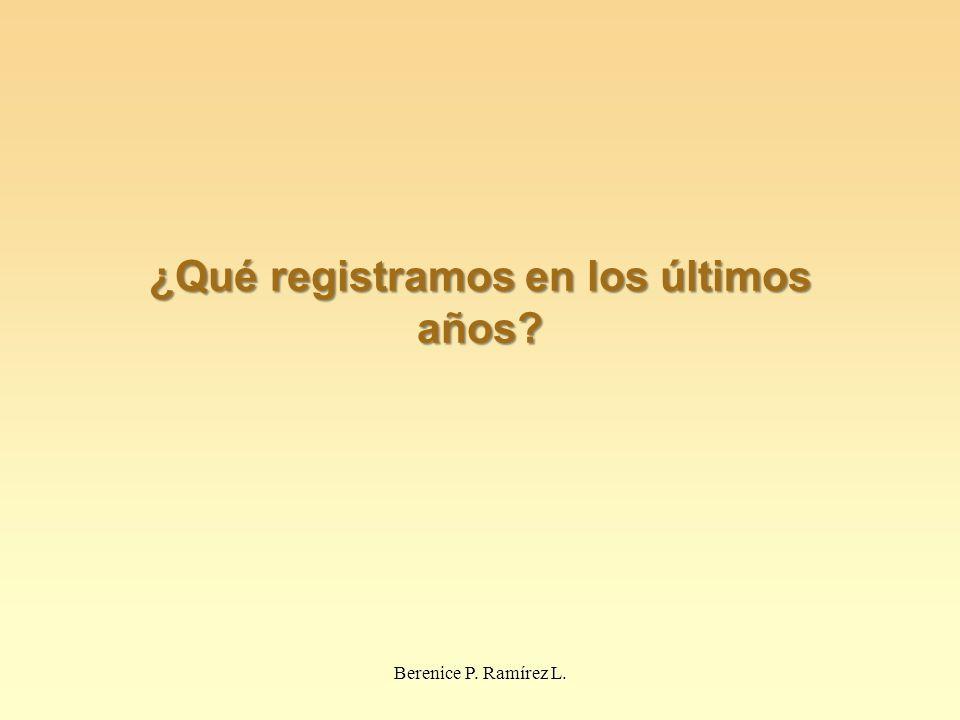 ¿Qué registramos en los últimos años? Berenice P. Ramírez L.