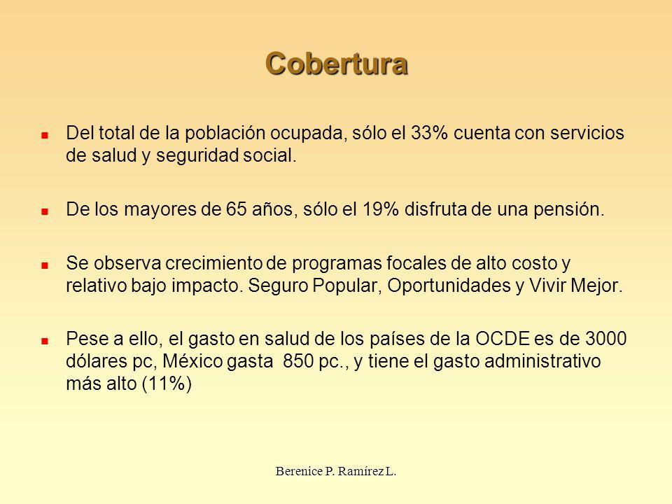 Cobertura Del total de la población ocupada, sólo el 33% cuenta con servicios de salud y seguridad social. De los mayores de 65 años, sólo el 19% disf