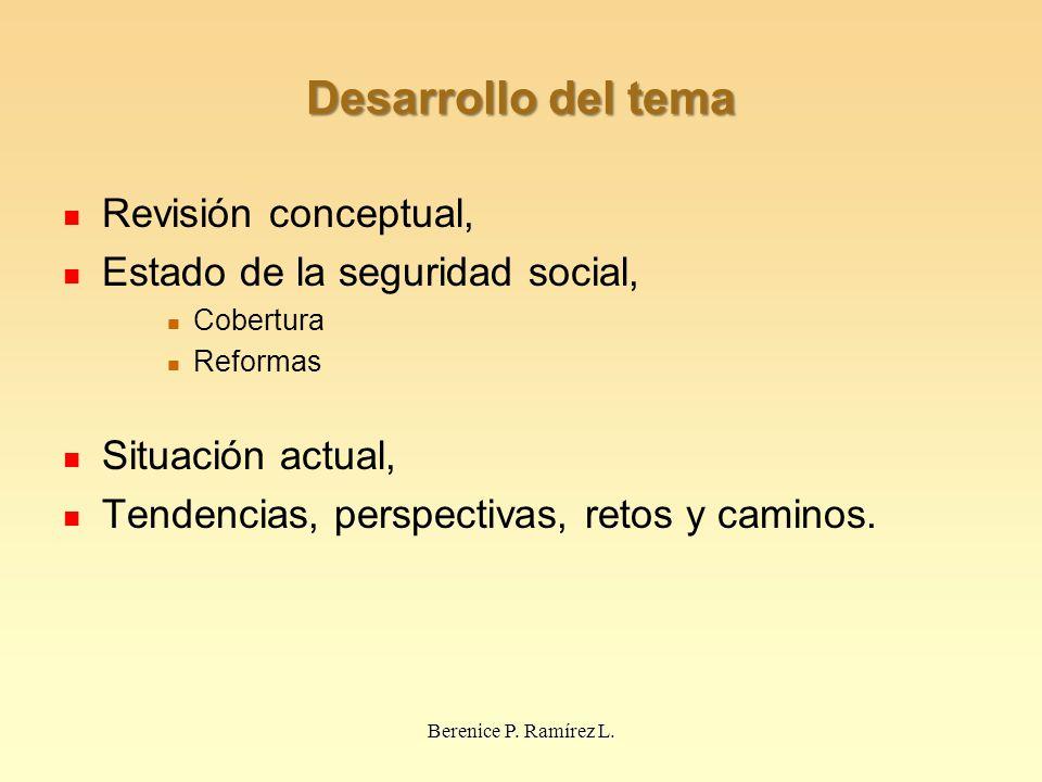 Desarrollo del tema Revisión conceptual, Estado de la seguridad social, Cobertura Reformas Situación actual, Tendencias, perspectivas, retos y caminos.