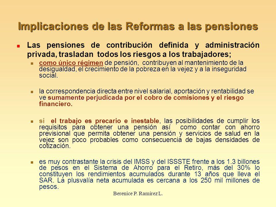 Implicaciones de las Reformas a las pensiones Las pensiones de contribución definida y administración privada, trasladan todos los riesgos a los trabajadores; de pensión, contribuyen al mantenimiento de la desigualdad, el crecimiento de la pobreza en la vejez y a la inseguridad social.