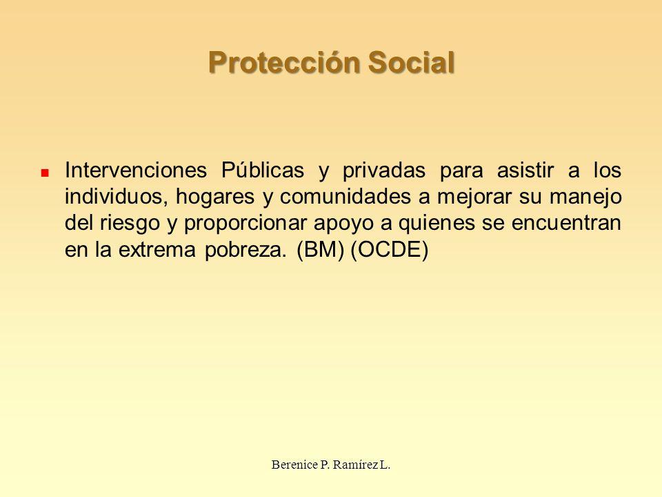 Protección Social Intervenciones Públicas y privadas para asistir a los individuos, hogares y comunidades a mejorar su manejo del riesgo y proporcionar apoyo a quienes se encuentran en la extrema pobreza.