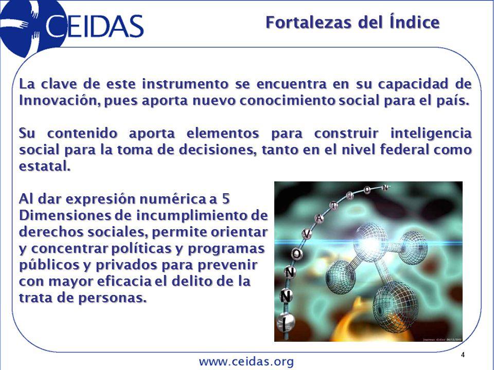 15 Las dimensiones del Índice Con base en los criterios señalados se consideró, en un primer momento, una batería con 32 indicadores.
