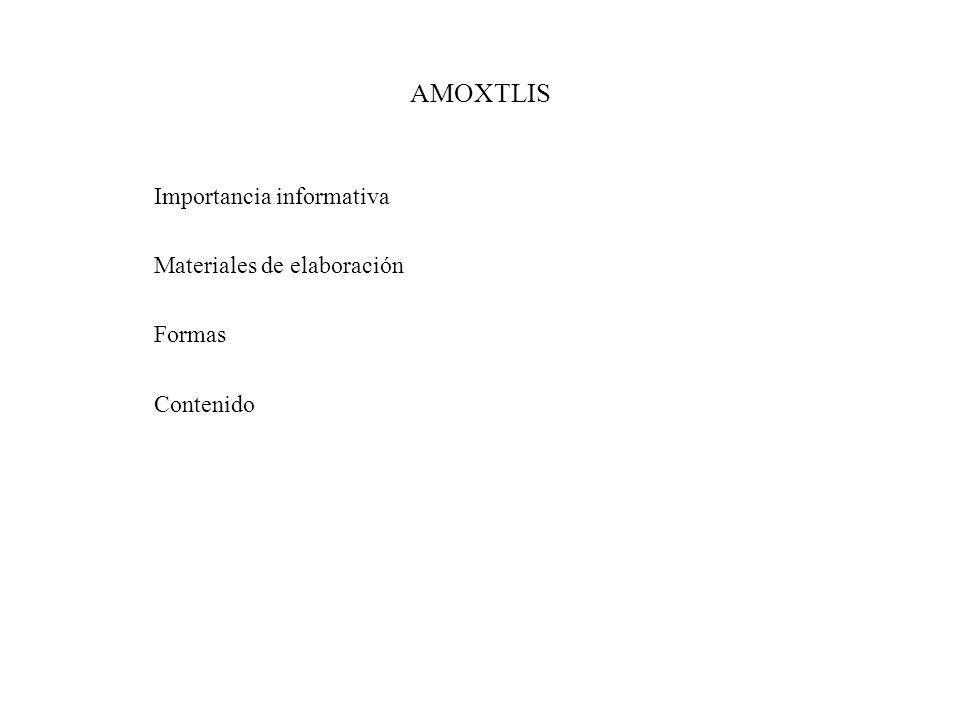 AMOXTLIS Importancia informativa Materiales de elaboración Formas Contenido