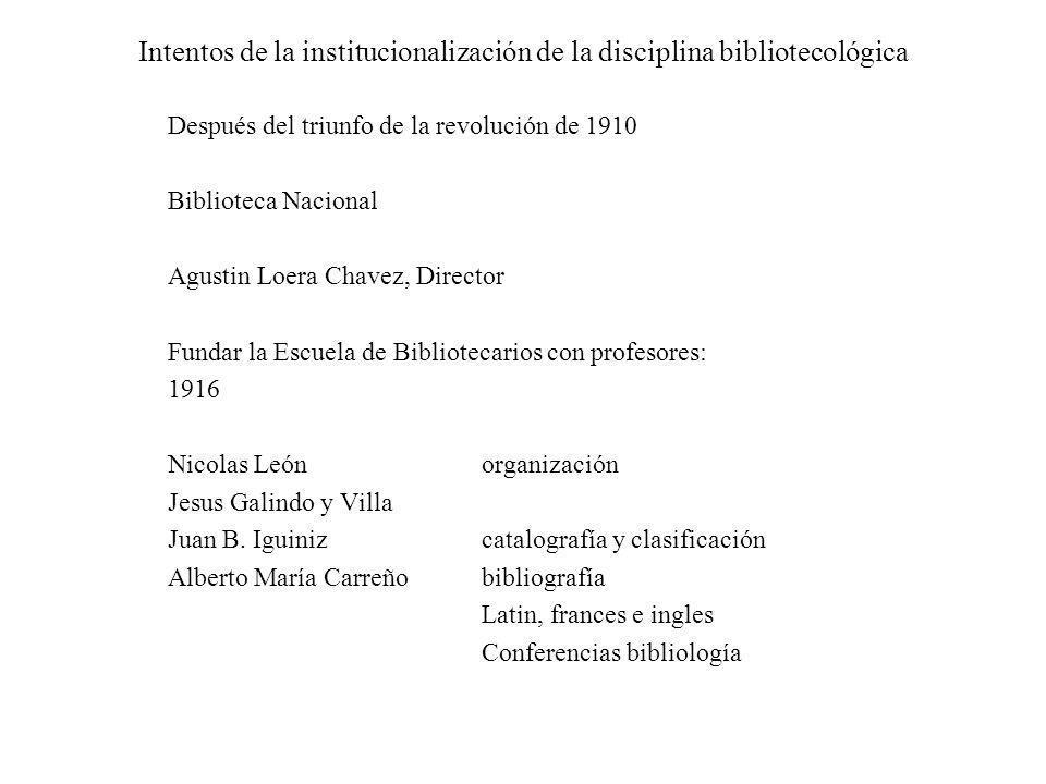 Intentos de la institucionalización de la disciplina bibliotecológica Después del triunfo de la revolución de 1910 Biblioteca Nacional Agustin Loera C