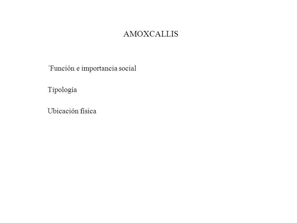 AMOXCALLIS ´Función e importancia social Tipología Ubicación física
