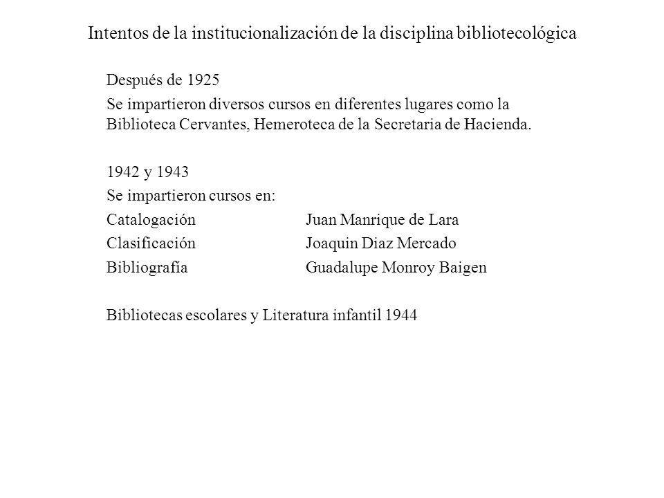 Intentos de la institucionalización de la disciplina bibliotecológica Después de 1925 Se impartieron diversos cursos en diferentes lugares como la Bib