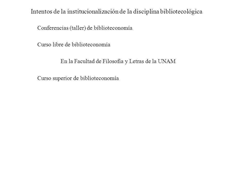 Intentos de la institucionalización de la disciplina bibliotecológica Conferencias (taller) de biblioteconomía Curso libre de biblioteconomía En la Fa