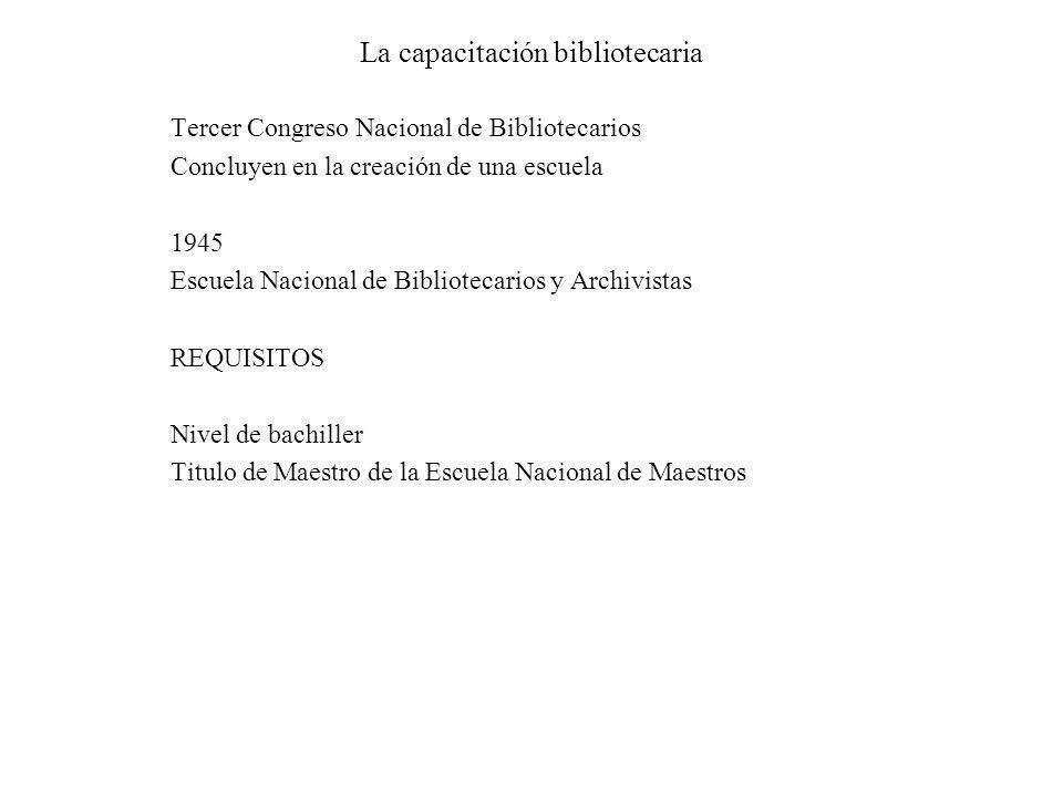 La capacitación bibliotecaria Tercer Congreso Nacional de Bibliotecarios Concluyen en la creación de una escuela 1945 Escuela Nacional de Bibliotecari