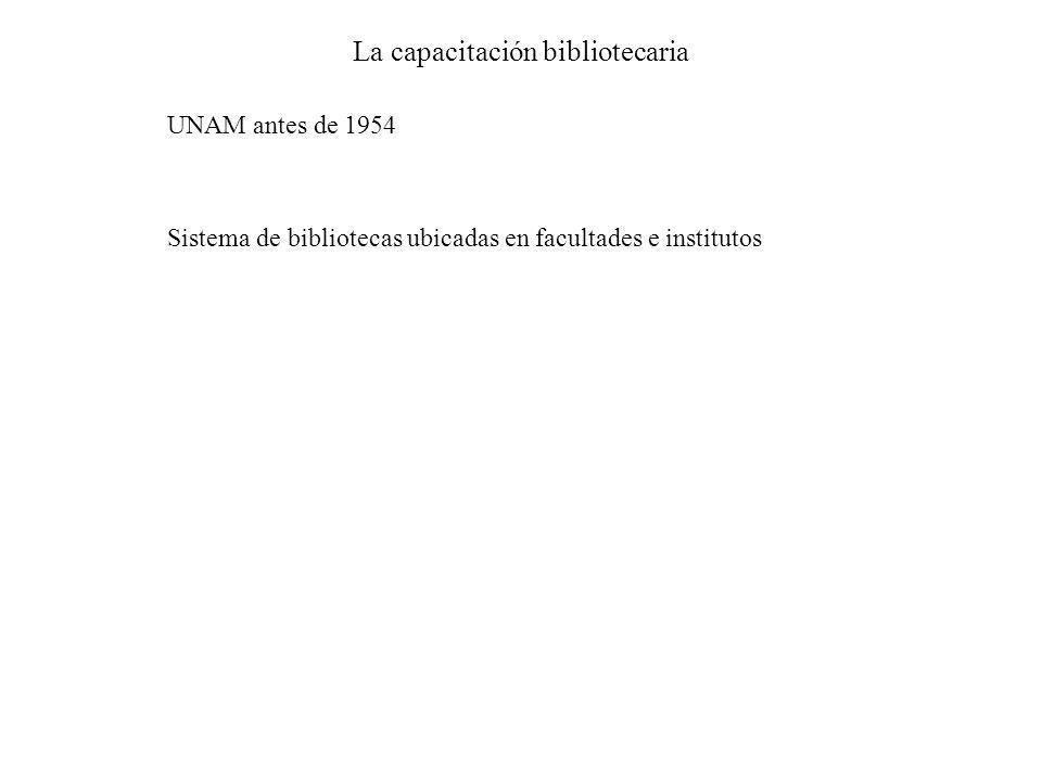 La capacitación bibliotecaria UNAM antes de 1954 Sistema de bibliotecas ubicadas en facultades e institutos