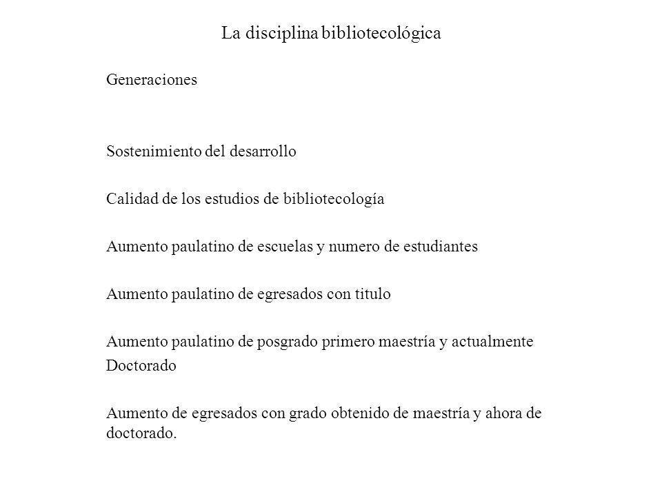 La disciplina bibliotecológica Generaciones Sostenimiento del desarrollo Calidad de los estudios de bibliotecología Aumento paulatino de escuelas y nu
