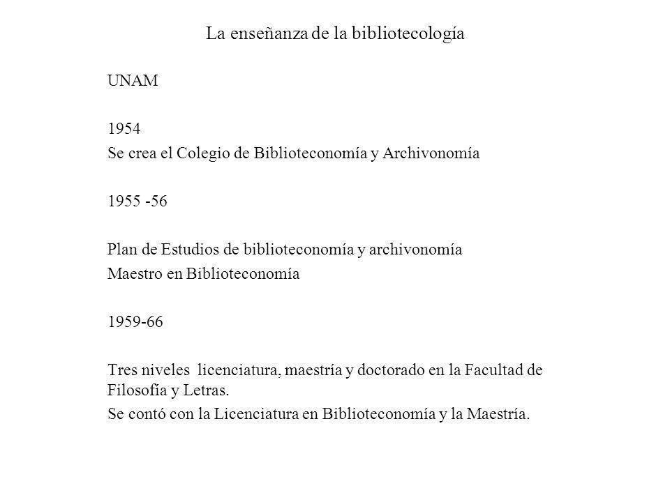 La enseñanza de la bibliotecología UNAM 1954 Se crea el Colegio de Biblioteconomía y Archivonomía 1955 -56 Plan de Estudios de biblioteconomía y archi