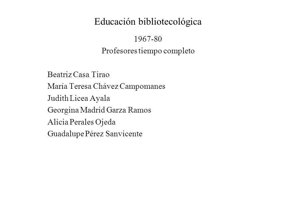 Educación bibliotecológica 1967-80 Profesores tiempo completo Beatriz Casa Tirao María Teresa Chávez Campomanes Judith Licea Ayala Georgina Madrid Gar